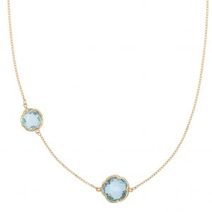 Di poppea, a gift symbolizing two. 9ct yellow gold necklace featuring two clover cut blue topaz gemstones, wearable at 45 and 40cm.