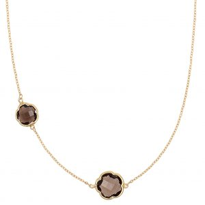 Di poppea, a gift symbolizing two. 9ct yellow gold necklace featuring two clover cut smoky quartz gemstones, wearable at 45 and 40cm.