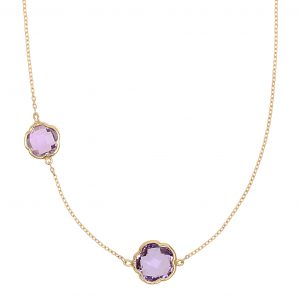 Di poppea, a gift symbolizing two. 9ct yellow gold necklace featuring two clover cut amethyst gemstones, wearable at 45 and 40cm.