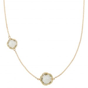 Di poppea, a gift symbolizing two. 9ct yellow gold necklace featuring two clover cut green amethyst gemstones, wearable at 45 and 40cm.