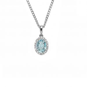 18ct white gold four claw set 0.83ct oval aquamarine pendant. Set in a halo of 22 brilliant cut diamonds=0.12ct g/si1 accompanied with an 18ct white gold diamond cut curb link chain.