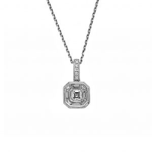 18ct white gold 0.52ct tdw diamond pendant. Featuring an 0.20ct asscher cut diamond with 8 baguette=0.29ct diamond surround and 6 brilliant cut=0.03ct g/vs2 diamond bail. Accompanied with an 18ct white gold cable link chain.