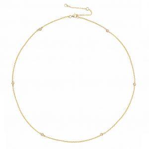 Yellow gold bezel diamond necklace 8-862